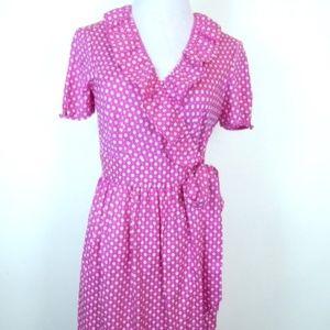 J CREW PINK RUFFLES short sleeve silk wrap dress 4